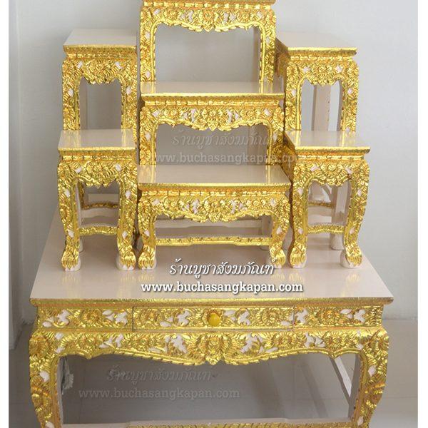 โต๊ะหมู่บูชา หมู่ 7 หน้า 8 แกะลายปิดทองร่องชาด สีครีม มีลิ้นชัก สำหรับเก็บธูปเทียน ขนาด หมู่ 7 หน้า 8 โต๊ะรอง กว้าง 92 ซม. ยาว 92 ซม. โต๊ะเล็กด้านบน กว้าง 8 นิ้ว ยาว 16 นิ้ว