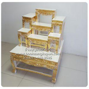 โต๊ะหมู่บูชา หมู่ 7 หน้า 8 แกะลายปิดทองร่องชาด สีครีม