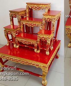 โต๊ะหมู่ 7 หน้า 8 ไม้สัก ปิดทอง