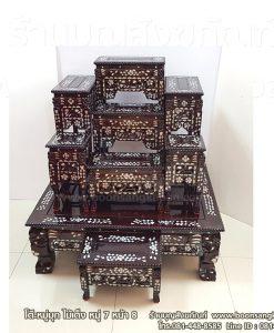 โต๊ะหมู่มุก ไม้เต็ง หมู่ 7 หน้า 8 พร้อมโต๊ะกราบ