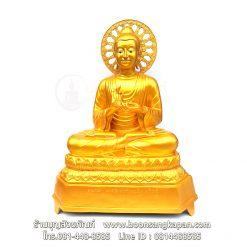 พระพุทธรูป ปางอินเดีย 30 นิ้ว ทองเหลือง พ่นทอง ฐานบัว