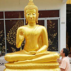 พระพุทธรูป ทองเหลือง พ่นทอง ฐานบัว หน้าตัก 70 นิ้ว ปางประทานพร