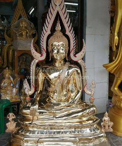 พระพุทธชินราช ทองเหลือง ขัดเงา หน้าตัก 40 นิ้ว ติดเพชรที่เรือนแก้ว