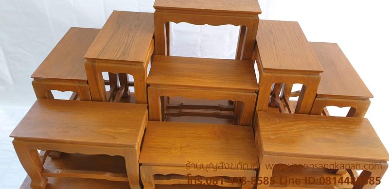 โต๊ะหมู่บูชาไม้สักเรียบ