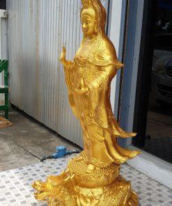 เจ้าแม่กวนอิมทองเหลือง พ่นทอง 20 นิ้ว สูง 130 ซม.