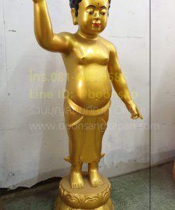 พระพุทธเจ้าน้อย ทองเหลือง พ่นทอง สูง 1เมตร
