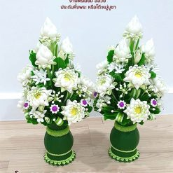 แจกันดอกบัวดินปั้น (ใหญ่ 1 คู่) งานเกรดพรีเมี่ยม สีสวย ประดับหิ้งพระ หรือโต๊ะหมู่บูชา