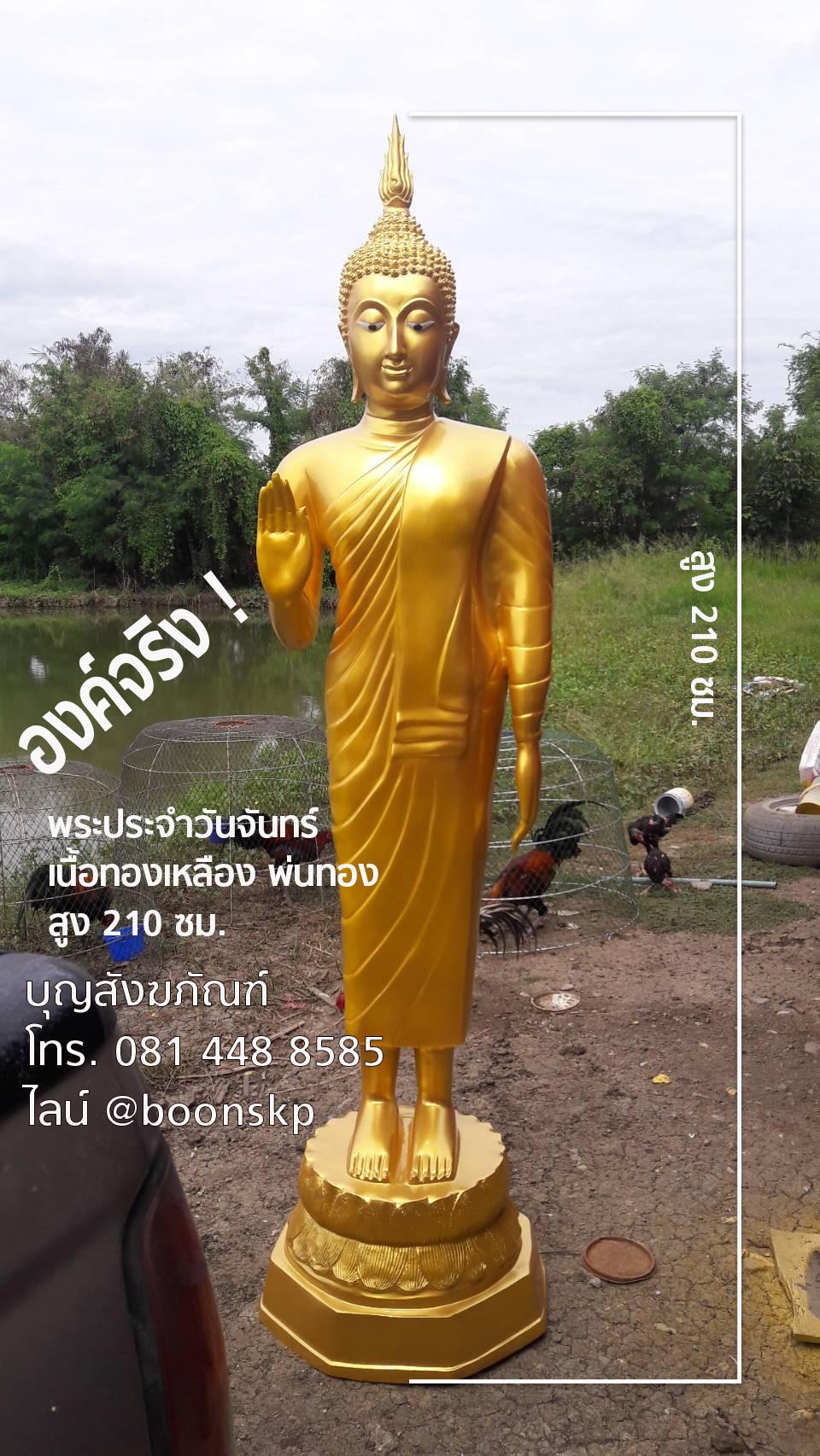 พระประจำวันจันทร์ เนื้อทองเหลือง ราคาไม่แพง สูง 210 ซม.